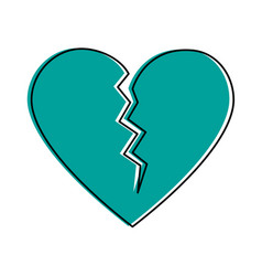 broken cartoon heart icon image vector image