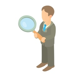 Businessman holding magnifying glass icon vector image