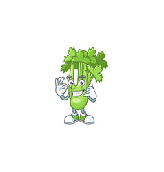 Call me cool celery plant cartoon character design vector