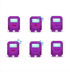 Cartoon character among us purple with sleepy vector