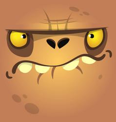 cartoon halloween zombie face vector image