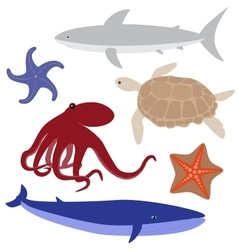 Cartoon sea life set 4 vector image