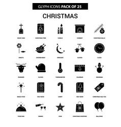 Christmas glyph icon set vector