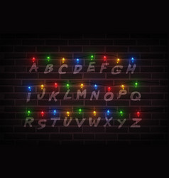 Christmas lights on wall light font garlands vector