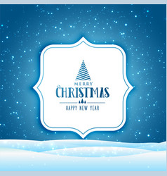 christmas winter scene with falling snow vector image