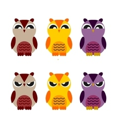 Colored cute owls set flat icon vector