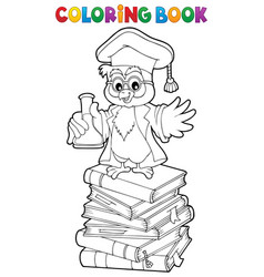 coloring book chemistry owl teacher 2 vector image