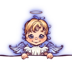 cute angel with panel for text vector image