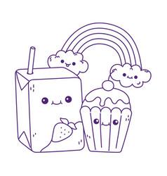Cute box juice and cupcake rainbow kawaii cartoon vector