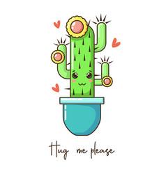 cute cartoon kawaii cactus with funny face in pot vector image