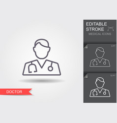 doctor with stethoscope line icon with editable vector image