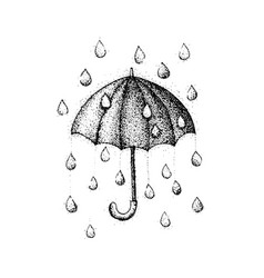 dotwork umbrella rain vector image