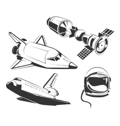 Elements for vintage space astronaut vector