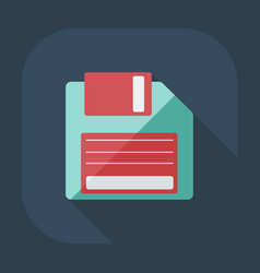 Flat modern design with shadow icon diskette vector