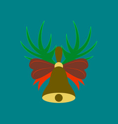 Flat on background of christmas bell vector