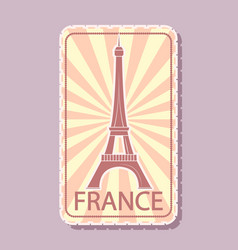 france sticker magnet for tourists tower vector image