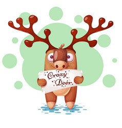 funny cute paper deer characters vector image