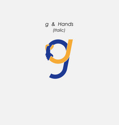 g - letter abstract icon amp hands logo design vector image