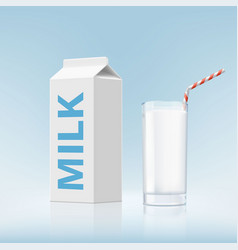 Glass of milk and cardboard packaging vector