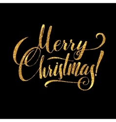 Gold Merry Christmas Card Golden Shiny Glitter vector image