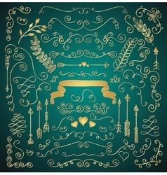 golden hand sketched rustic floral design elements vector image