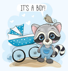 greeting card its a boy with baby carriage and vector image