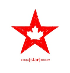 hand draw Star with Canadian maple Leaf vector image