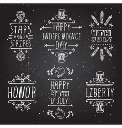 Hand-sketched independence day typographic vector