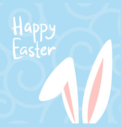 happy easter card with cute bunnies ears baby vector image