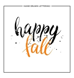 Happy fall text with black splashes vector