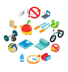 Healthy lifestyle isometric icons vector