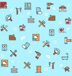 home renovation and repair color linear icons set vector image