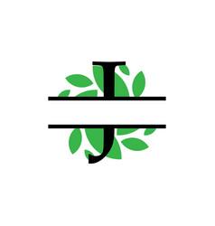 Initial j green leaf monogram split letter vector