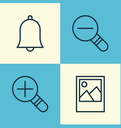 Internet icons set collection of zoom out vector