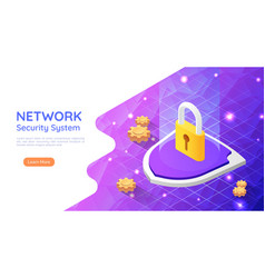 isometric web banner padlock with keyhole icon on vector image