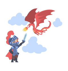 knight boy character in armour fighting with red vector image