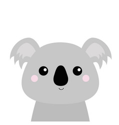 koala face head gray silhouette kawaii animal vector image