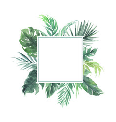 Leaves border with square blank area wedding vector