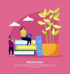library knowledge flat composition vector image