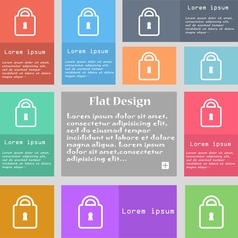 Lock icon sign Set of multicolored buttons with vector image