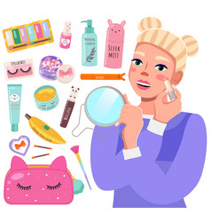 makeup master class banner with beautiful young vector image