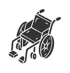 manual wheelchair glyph icon wheel chair mobility vector image