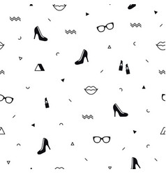 memphis pattern with black high heel shoes lips vector image