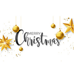 Merry christmas with gold glass ball vector