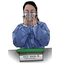 Nurse with face mask vector