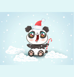 panda on snow in kawaii style vector image