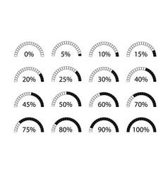 percentage symbols 0 to 100 percent icons vector image