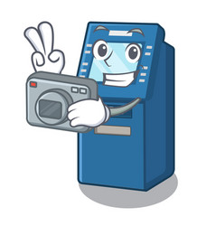 photographer atm machine next to character table vector image