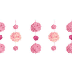 Pink birthday party paper pom poms set vector