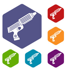 Plastic gun toy icons set hexagon vector